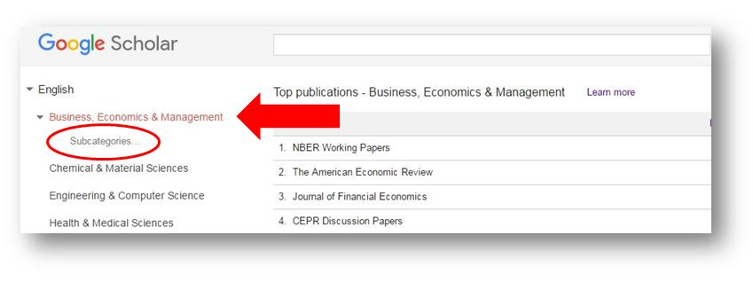 screenshot showing Google Scholar metrics categories