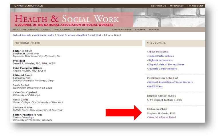 Screen shot showing link to editorial board info for journal