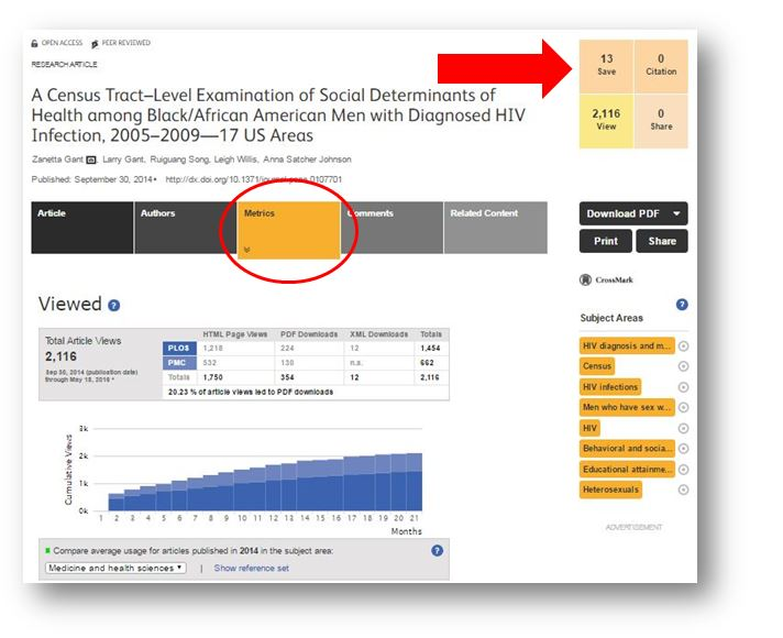 screen shot showing metrics link and times saved and viewed