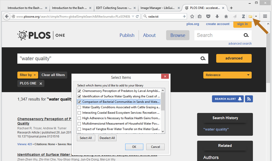 Click on the folder icon to save multiple sources to Zotero.