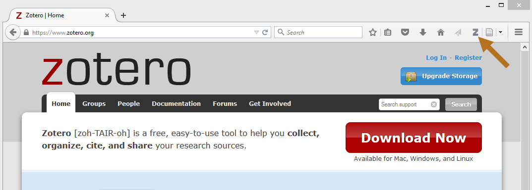 Click on the Zotero icon to launch the tool.