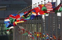 Row of country flags at the United Nations