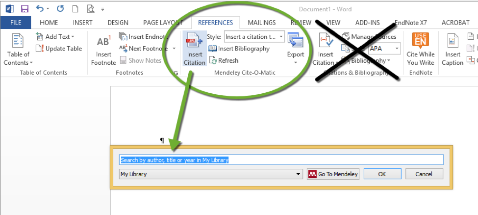 Image of Word for PC with References Ribbon open, pointing toward the Mendeley citation import button