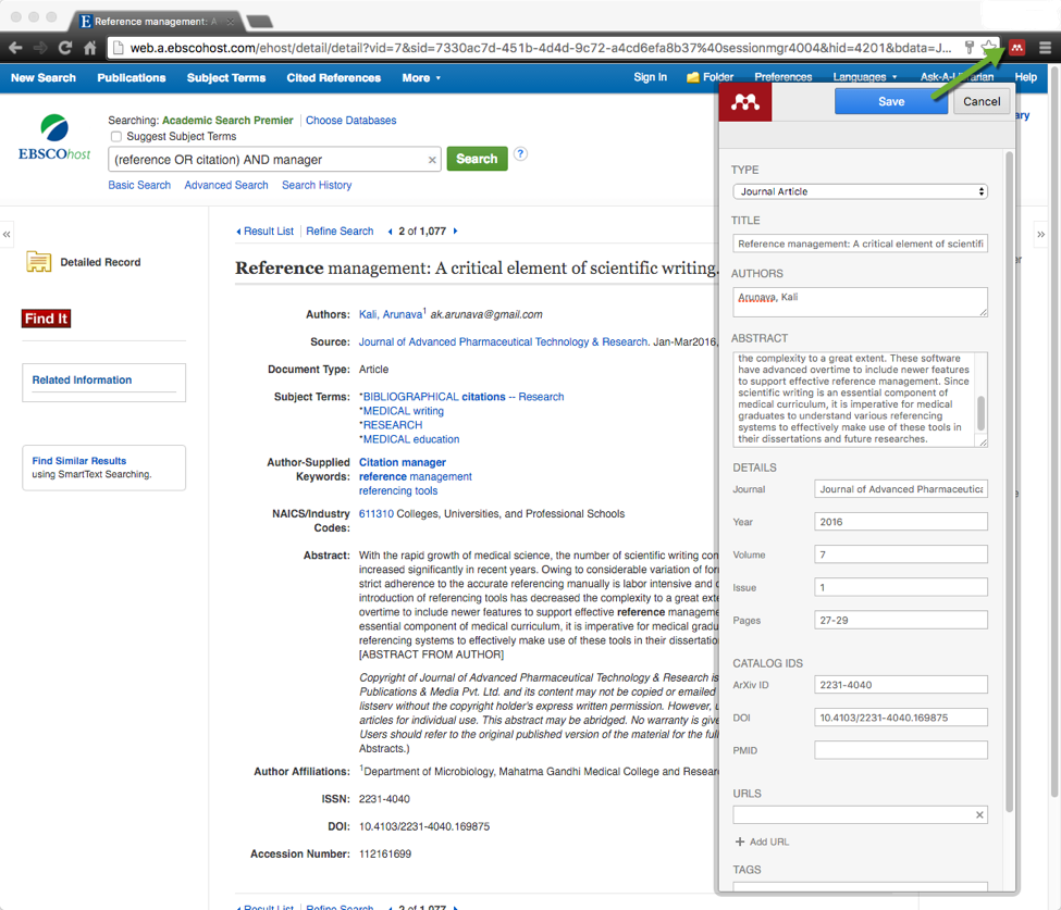 Image of database article record with Web Importer tool and citation metadata
