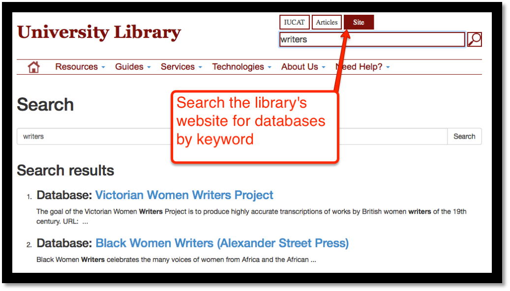 Screen shot of library webpage's site search feature