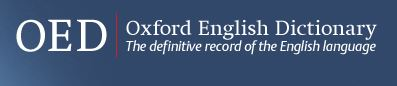 "Oxford English Dictionary Logo with words ""The definitive record of the English language"""