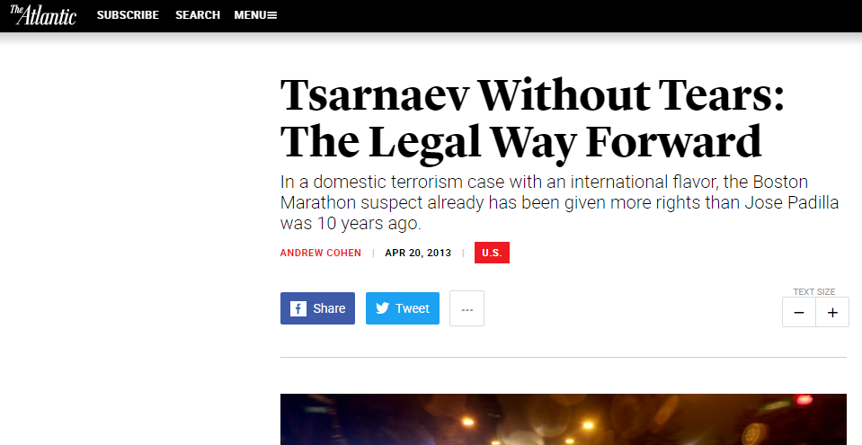 The altantic Tsarnaev Without Tears: The Legal Way Forward