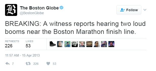 The Boston Globe Tweet: BREAKING: A witness reports hearing two loud booms near the Boston Marathon finish line.
