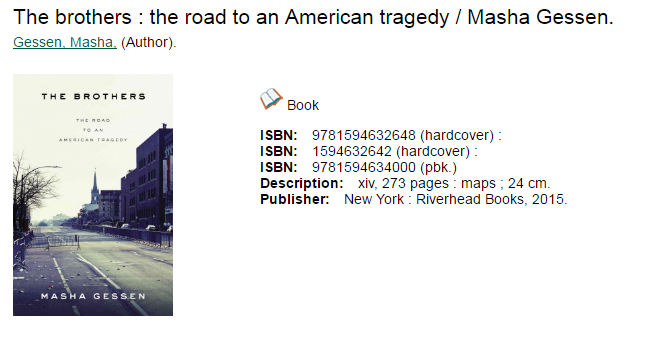 Book record for The brothers: the road to an American Tragedy by Masha Gessen