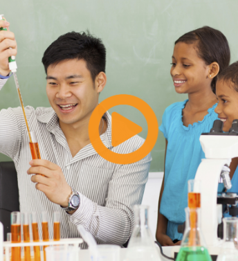 screenshot from Turning a Good Teacher into a Great One, showing a teacher doing science experiments with cheerful looking students