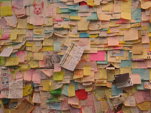 Image of a collage of post-it notes