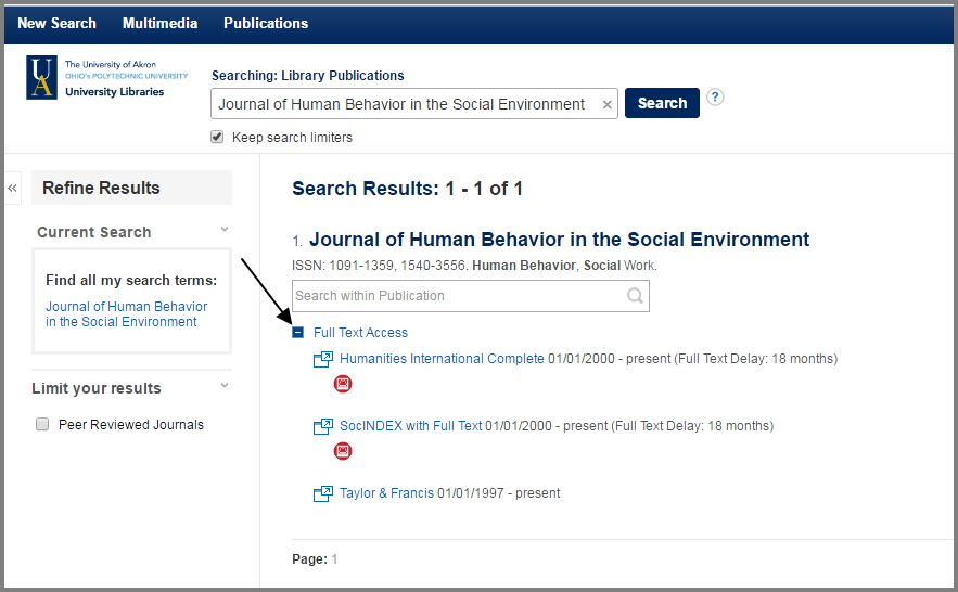 Journal result listing with the full text access listing expanded, showing three options to locate the full text.