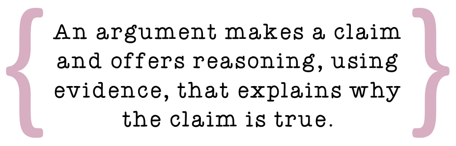 An argument makes a claim and uses evidence to back it up.