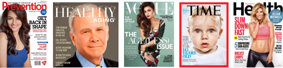 Examples of popular magazines include Prevention, Healthy Aging, Time, or Health.