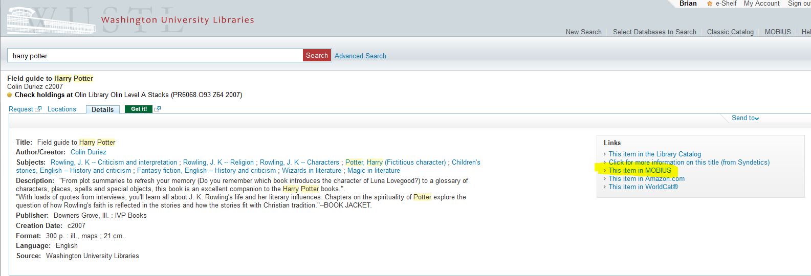 Screenshot showing MOBIUS link