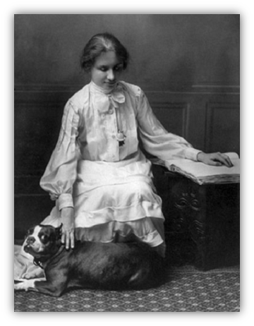 Helen Keller with dog