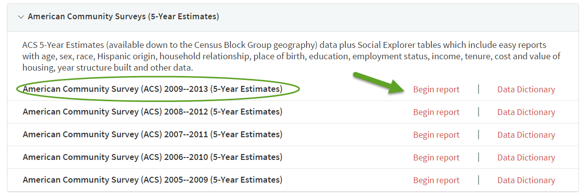 American Community Surveys 5-year estimate data selection in Social Explorer