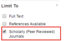 scholarly journal limit option