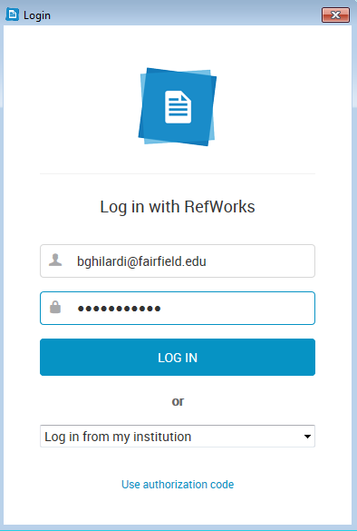 Log in to RefWorks.