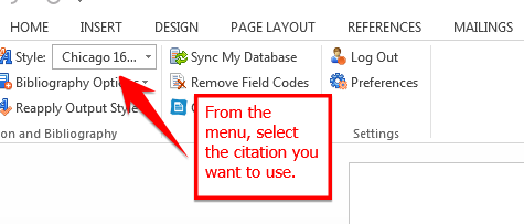 From menu selectthe citation style you want to use.