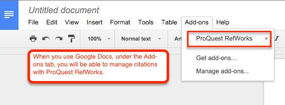 In Google Docs use Add-ons then RefWorks.