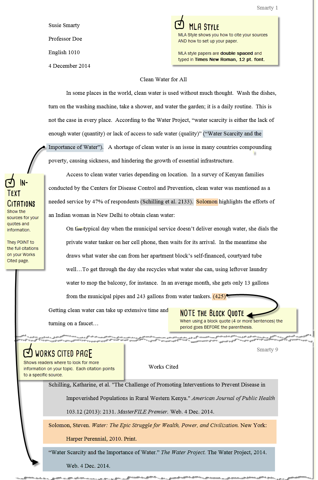 using citations in a paper mla citations library home an mla paper follows mla style mla style shows you how to cite your sources