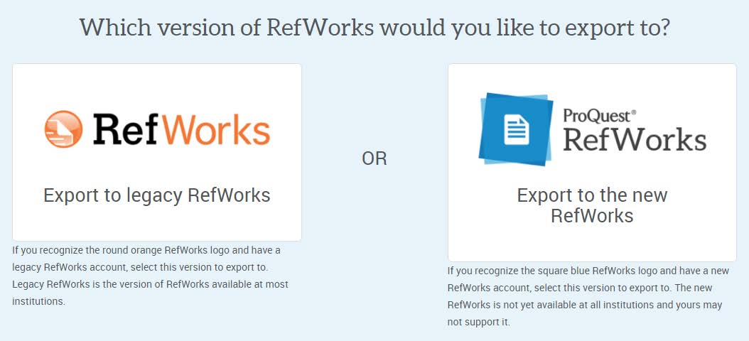 image with the two logos for the legacy RefWorks and the new ProQuest RefWorks