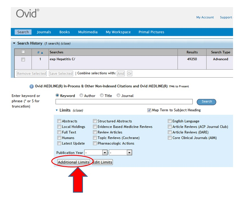 OVID Medline diagnosis research step 1