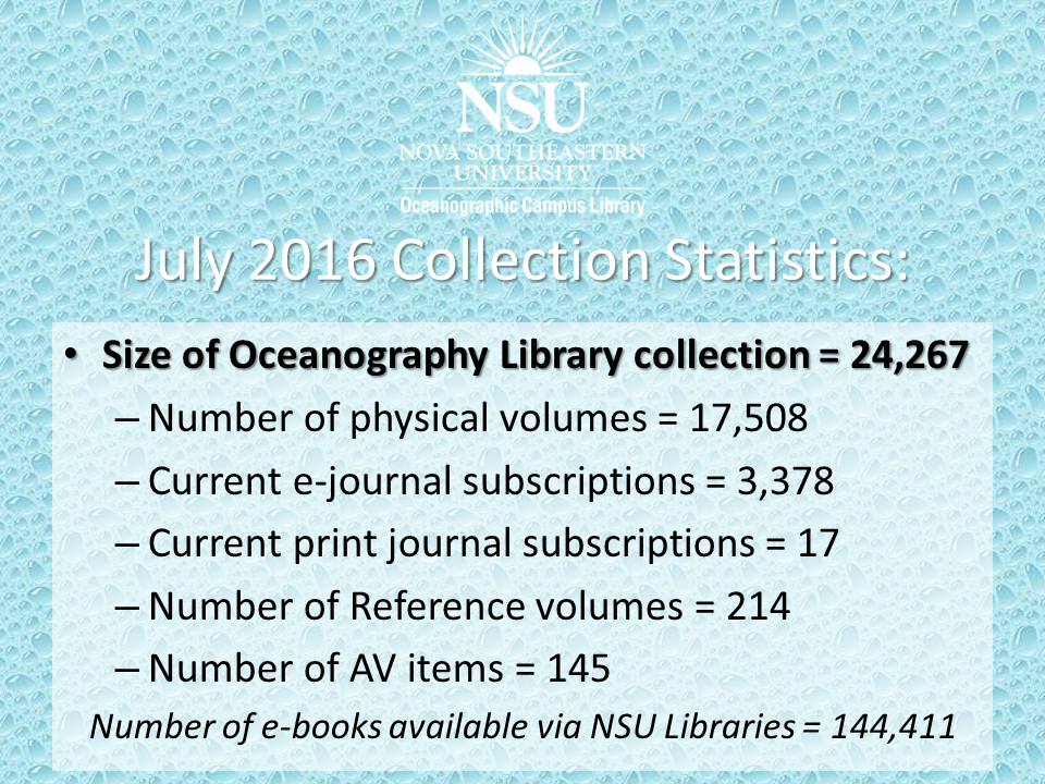 OCL July 2016 Collection Statistics