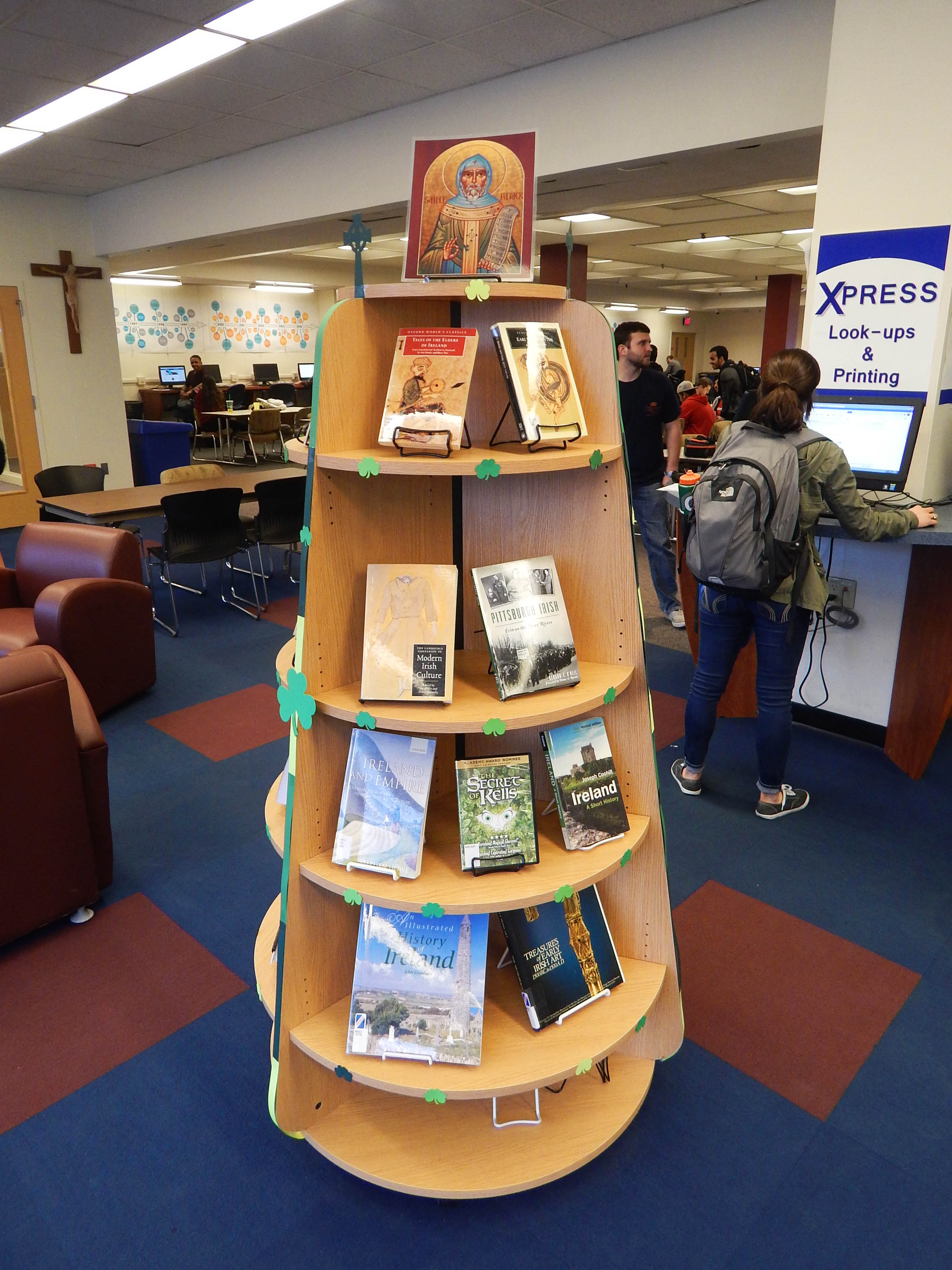 gumberg library displays the land of saints and st patrick book display