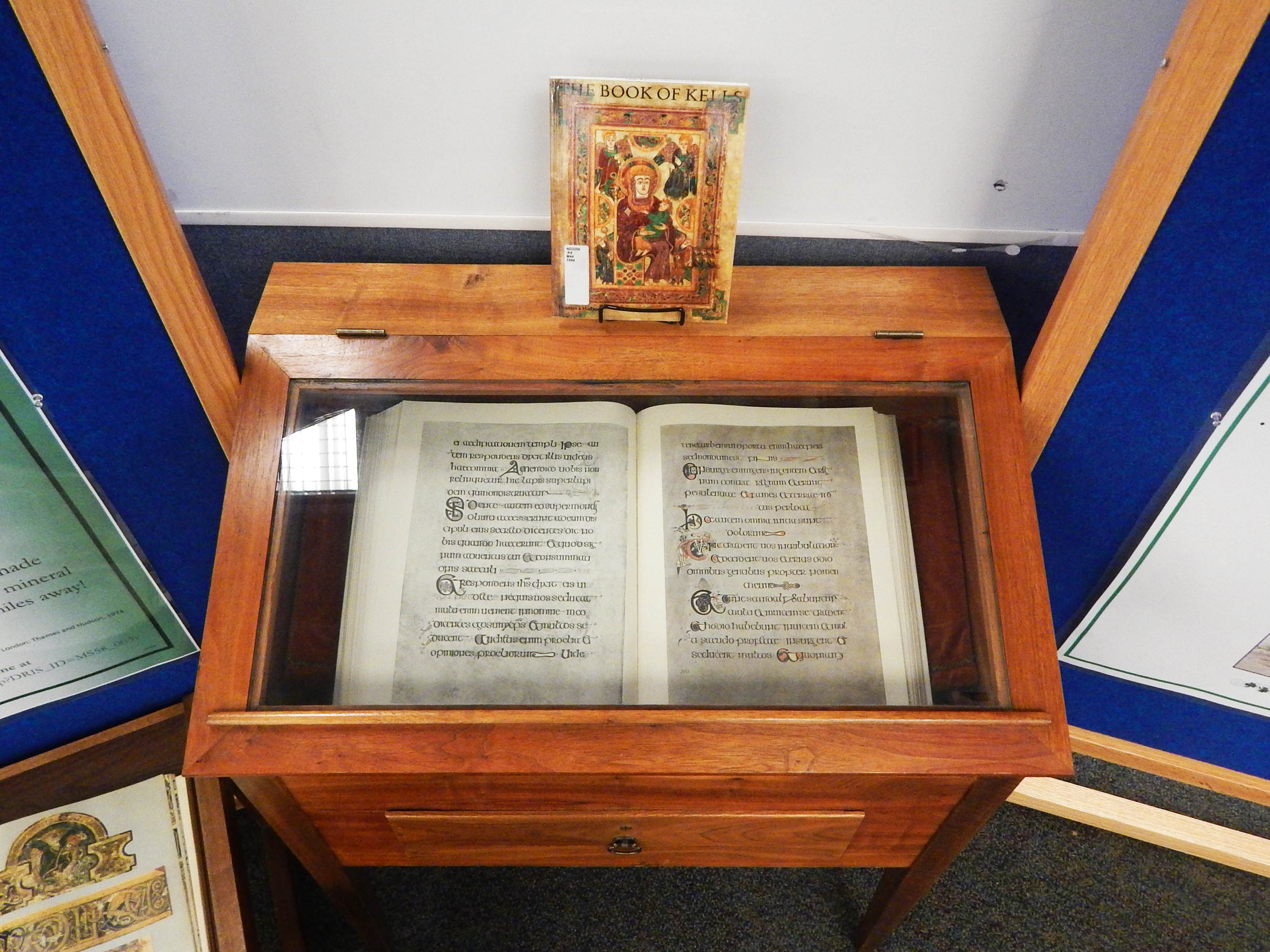 gumberg library displays the land of saints and book of kells