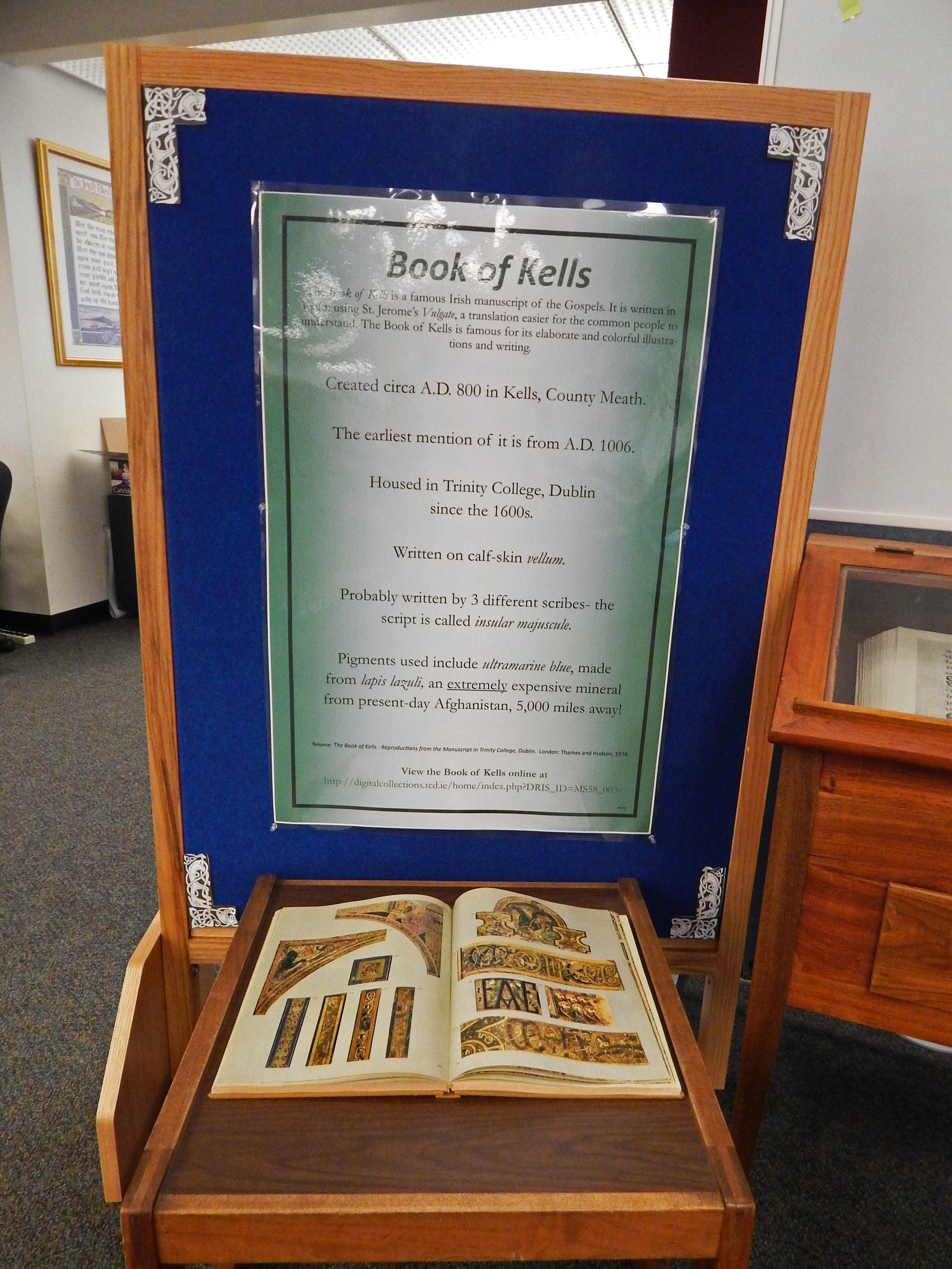gumberg library displays the land of saints and book of kells facts