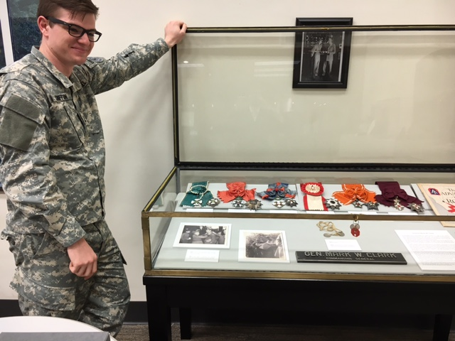 cadet and display case