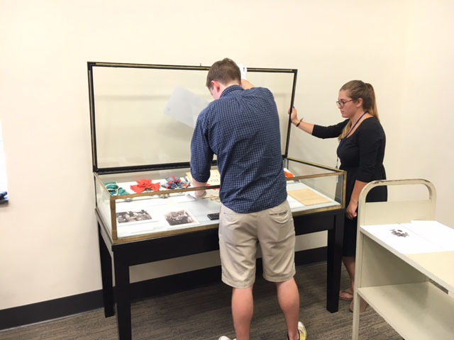 student staff and display case