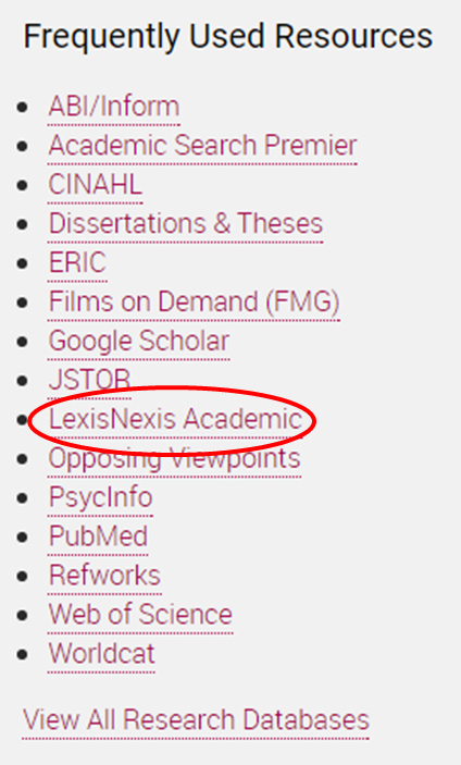 Image of the frequently use resources section on the library homepage. The 9th item in the list, lexis nexis, is circled in red.