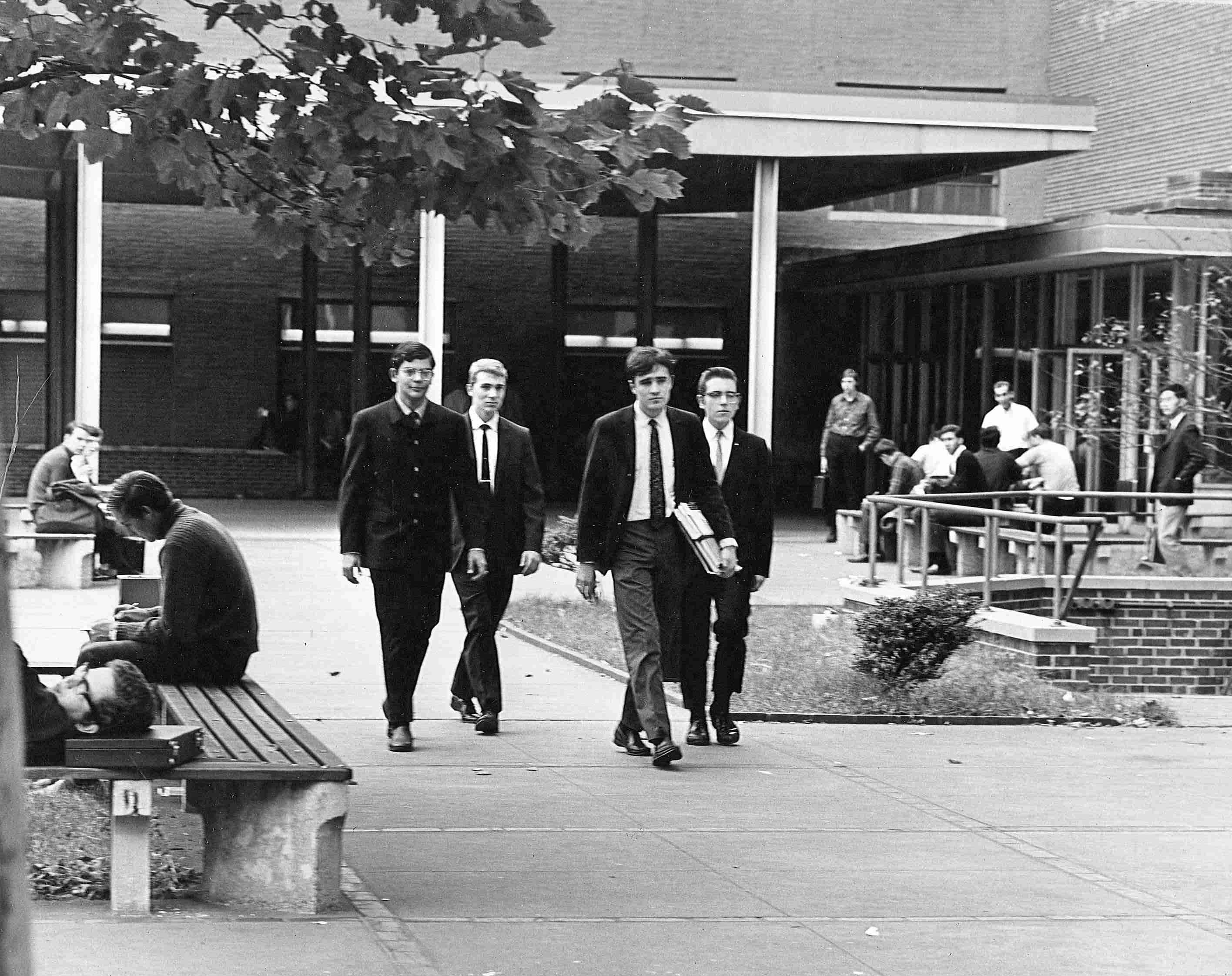 Students in front of 333 Jay Street, 1960s.