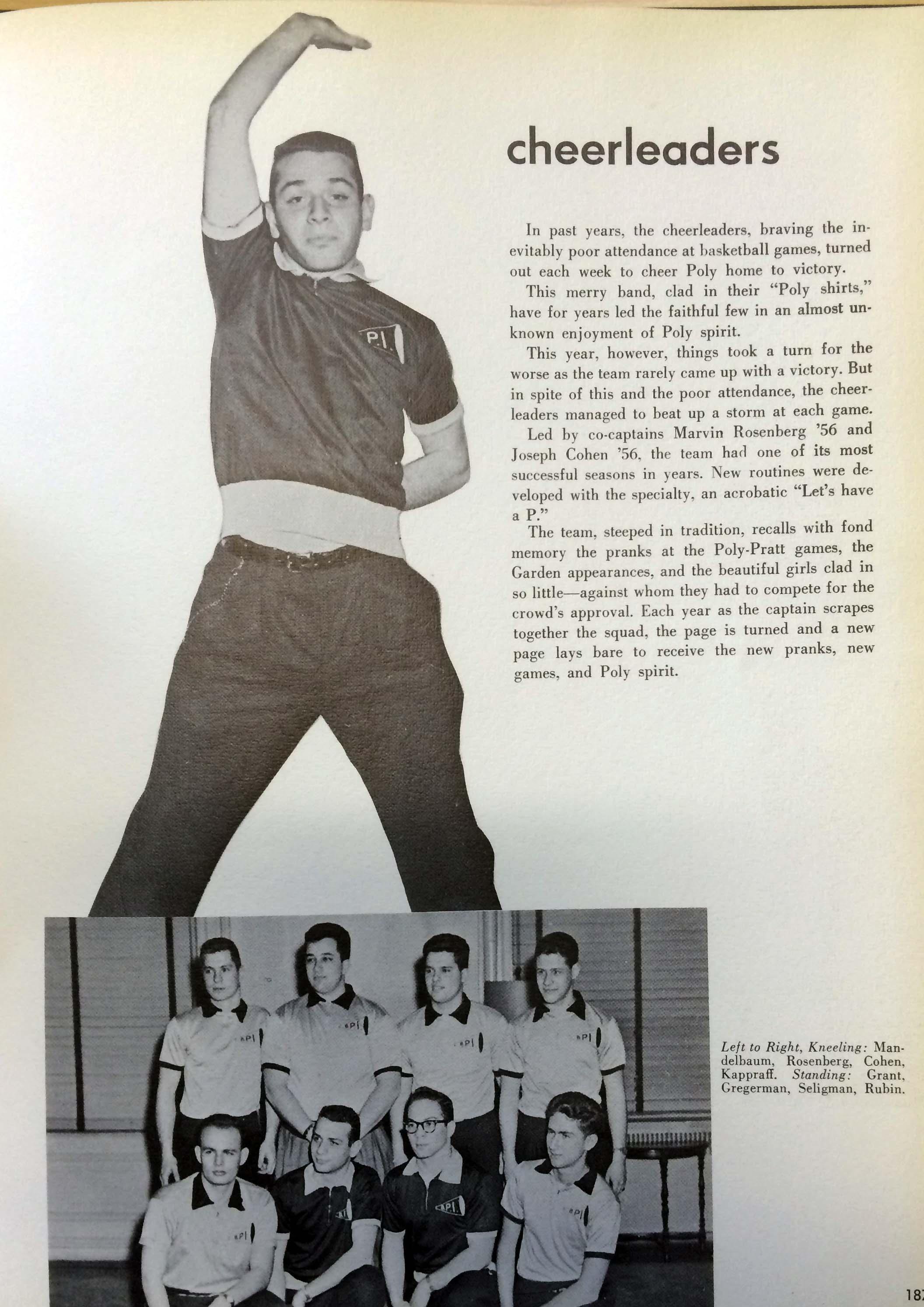 Male cheerleaders yearbook spread.