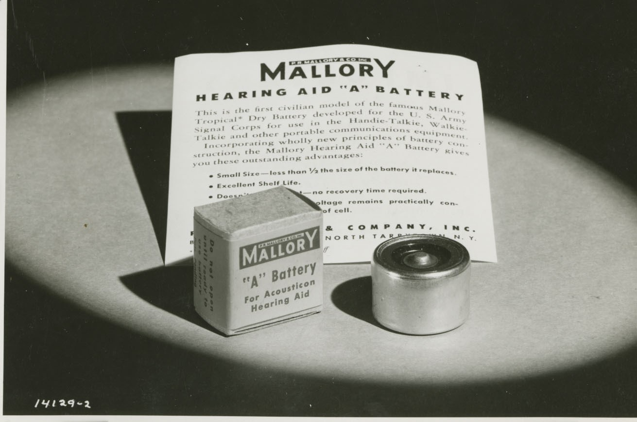 Mallory battery advertisement, Samuel Ruben Papers, Poly Archives.