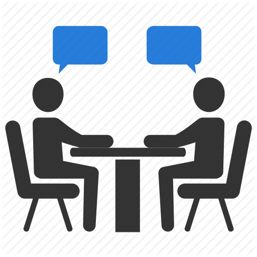 Icon of two people speaking at a table with blue word clouds.