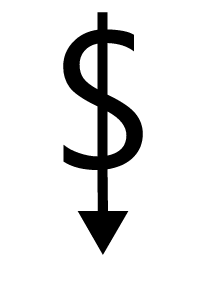 A dollar sign with the vertical line as a down-pointing arrow.