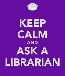 Keep calm and ask a librarian on a purple background