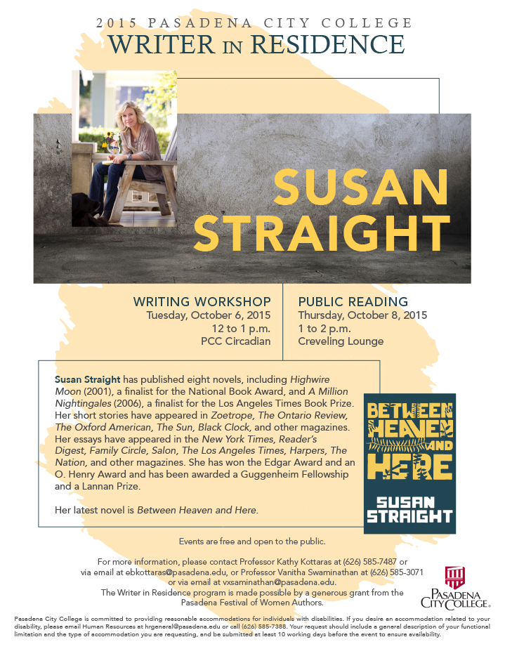 Flyer advertising Susan Straight residency at Pasadena City College