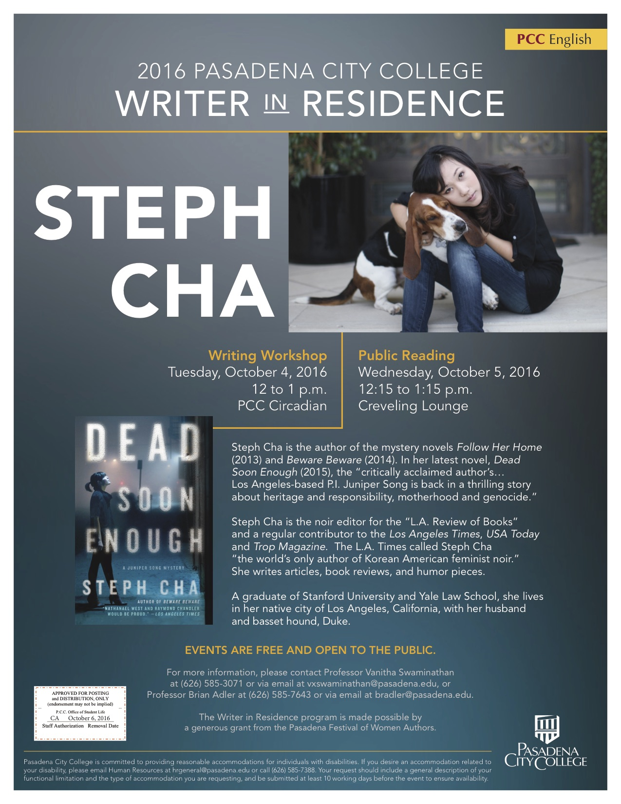 Steph Cha 2016 Writer-in-Residence poster announcing writing workshop on October 4 2016 at 12:00 in Circadian Room, and a public reading on October 5 2016 at 12:15 in Creveling Lounge.