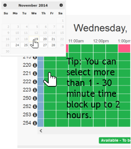 Calendar with mouse pointer selecting a day then the time