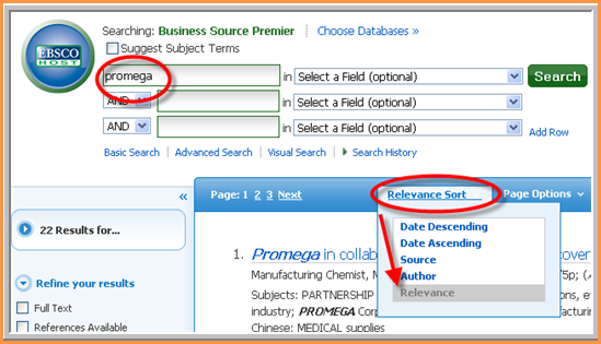 Business Source Premier relevancy example