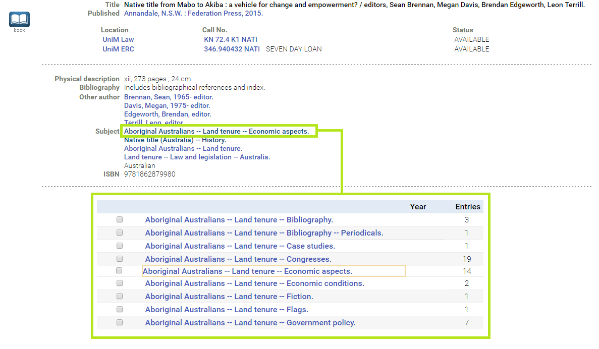 Screenshot of subject headings in the library catalogue