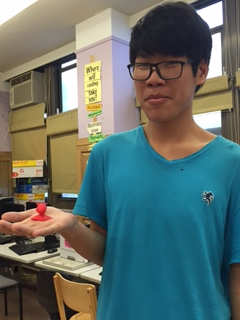 Student with 3D printed project