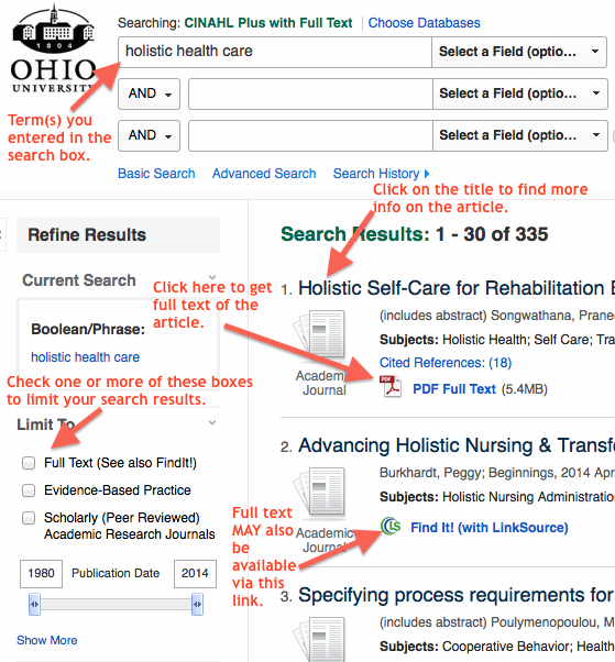 screen shot of CINAHL with useful callouts that include: where to search, how to get the PDF full text, where to filter, and more