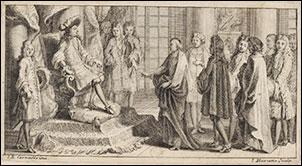 Les membres de l'Académie française venant offrir au Roi le Dictionnaire de l'Académie : [estampe]