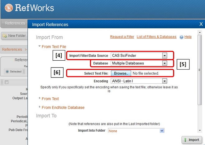 RefWorks SciFinder Import window